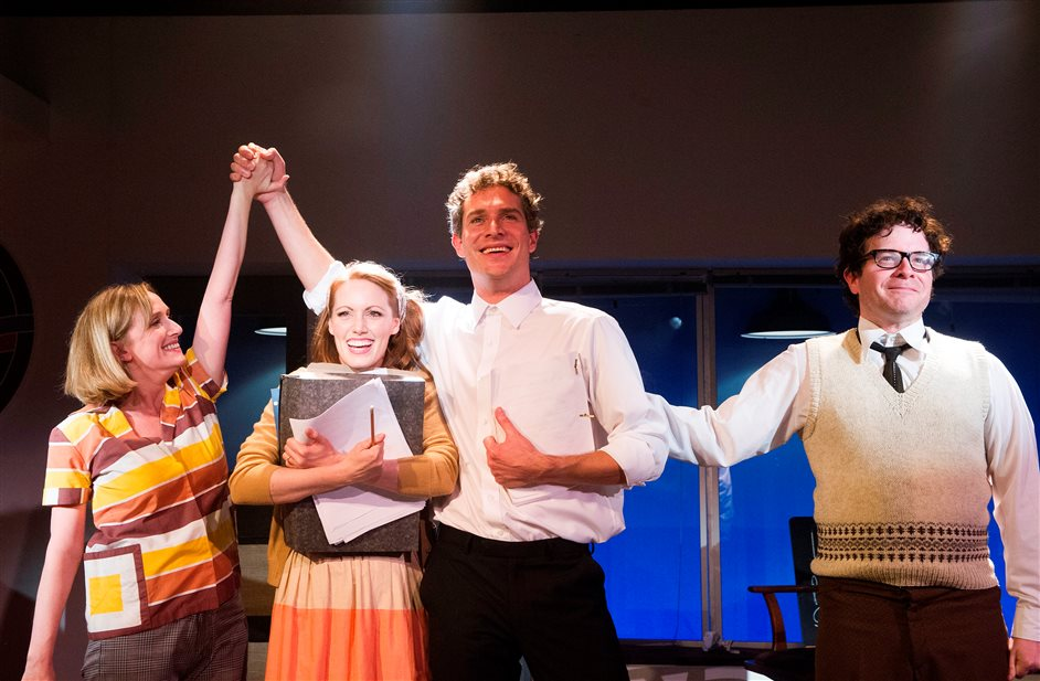 Merrily We Roll Along - Merrily We Roll Along - Jenna Russell, Clare Foster, Mark Umbers, Damian Humbley. Photo by Tristram Kenton
