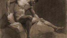 The Male Nude - N Jean-Baptiste Isabey, Seated man leaning on his right arm, 1789