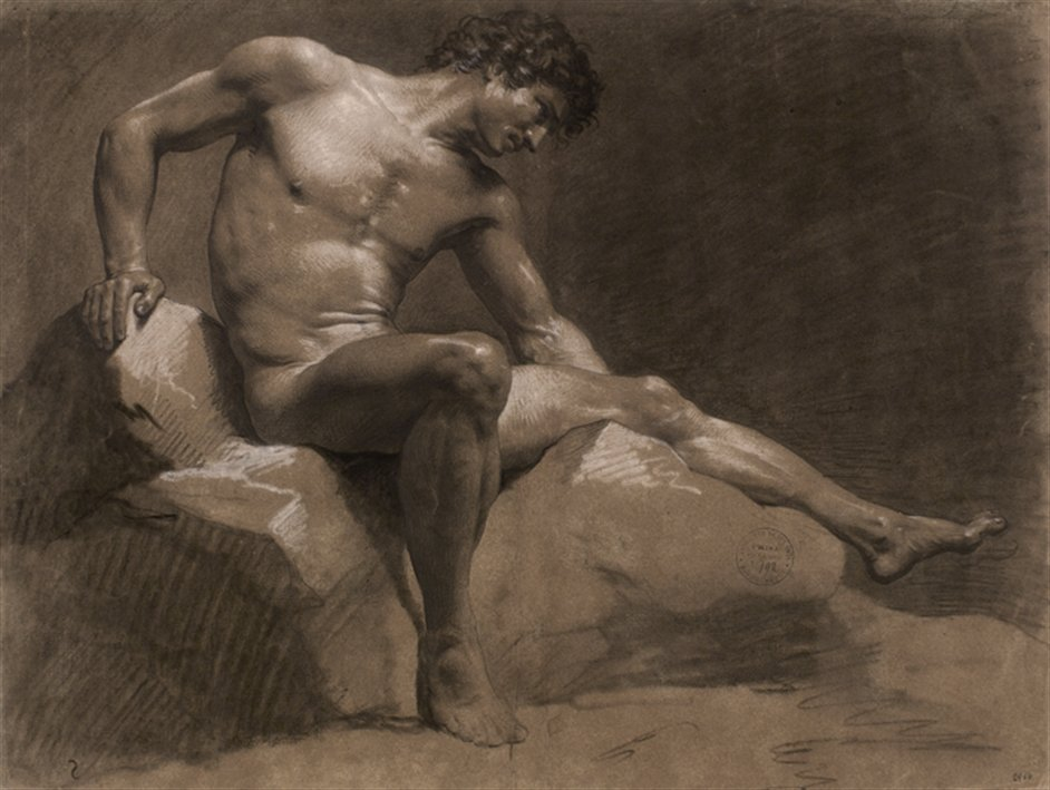 The Male Nude: Eighteenth-Century Drawings From The Paris Academy - Jean-Baptiste Isabey, Seated man leaning on his right arm, 1789