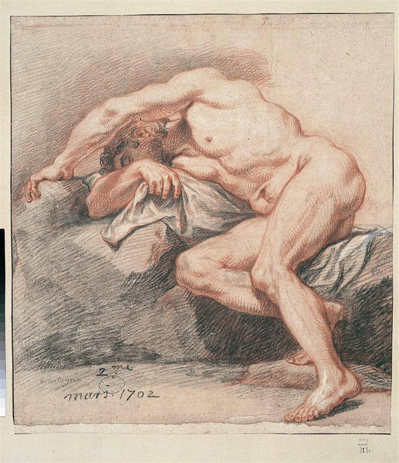 The Male Nude: Eighteenth-Century Drawings From The Paris Academy - Nicolas de Plattemontagne, Sleeping man legs bent, 1687