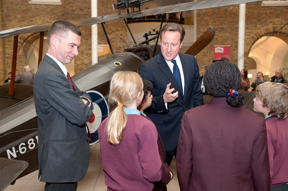 IWM London (Imperial War Museums) - David Cameron, IWM's James Taylor on left, photo by Greg Smith, IWM