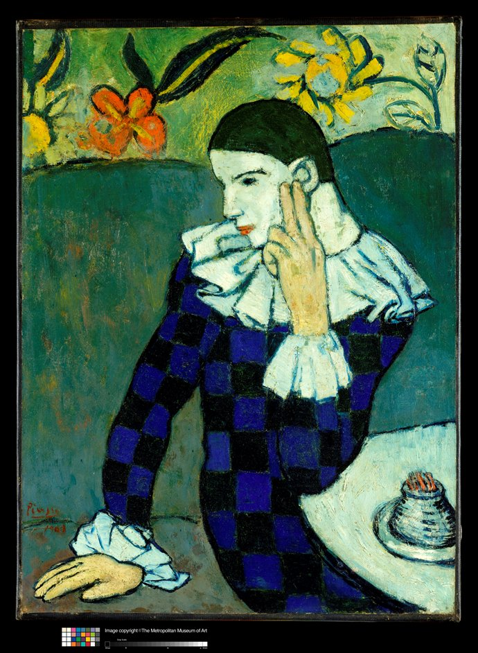 Becoming Picasso: Paris 1901 - Pablo Picasso (1881-1973), Seated Harlequin, 1901. Oil on canvas, 83.2 x 61.3 cm. The Metropolitan Museum of Art � The Metropolitan Museum of Art/Art Resource/Scala, Florence