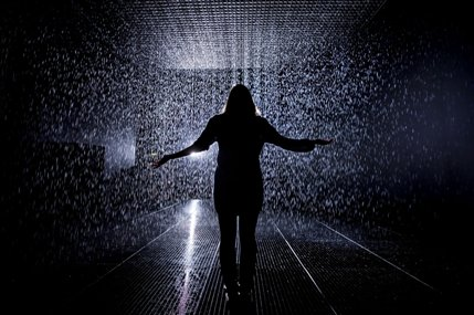 rAndom International: Rain Room - Rain Room Installation image,,© Felix Clay,,Rain Room, Random International,,2012.,,Courtesy of Barbican Art Gallery