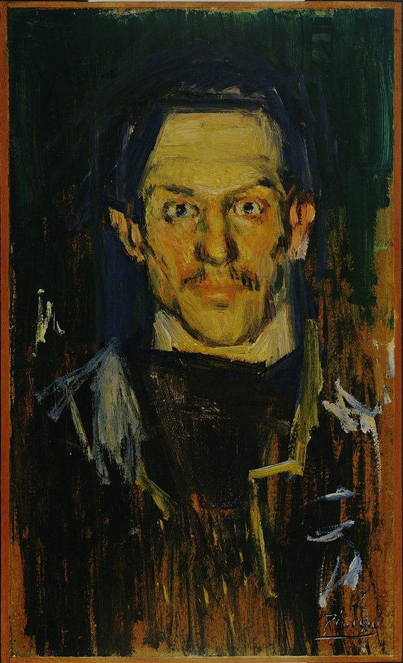 Becoming Picasso: Paris 1901 - Pablo Picasso (1881-1973) Self-Portrait (Yo), 1901, Oil on board, 51.4 x 31.1 cm. The Museum of Modern Art, New York/Scala, Florence