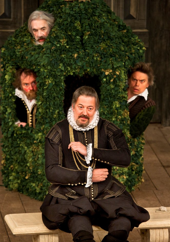 Twelfth Night - Stephen Fry as Malvolio and cast members in Twelfth Night, photo by Simond Annand