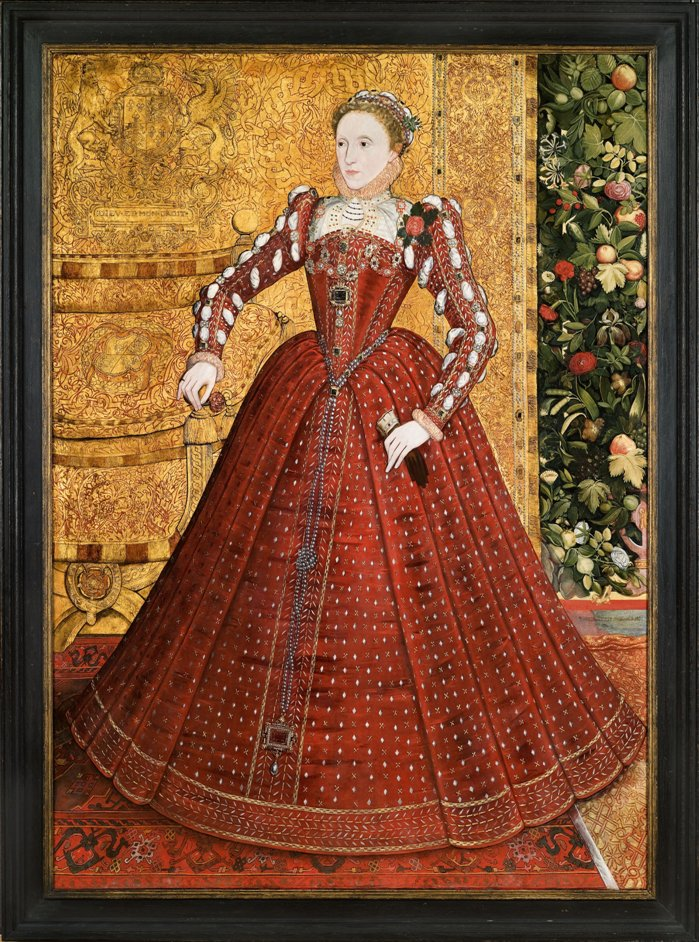 Treasures of the Royal Courts: Tudors, Stuarts and the Russian Tsars - Hampden Portrait of Elizabeth I, attributed to Steven van Herwijk or Steven van der Meulen, c.1560 © Phillip Mould Ltd