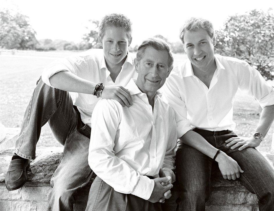 Mario Testino: British Royal Portraits - HRH The Prince of Wales, HRH Prince William and HRH Prince Henry. London 2004. By Mario Testino © AMAAZING LTD