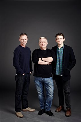 The Hothouse - John Simm, Simon Russell Beale and Harry Melling in The Hothouse at Trafalgar Studios, photo by Jay Brooks
