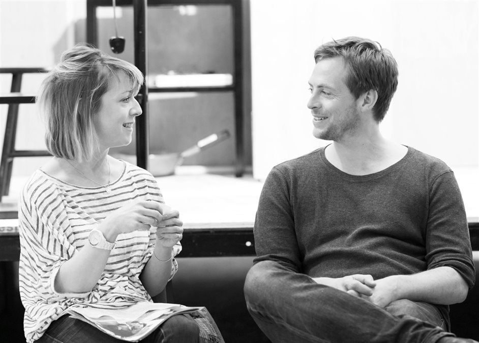 Chimerica - Claudie Blakley (Tessa) and Stephen Campbell Moore (Joe) in rehearsals for Chimerica at the Almeida Theatre. Photo by Johan Persson