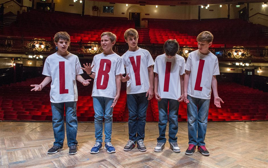 Billy Elliot - Billy Elliots from L to R - Elliott Hanna, Redmand Rance, Harrison Dowzell, Ali Rasul and Tade Biesinger, photo by Craig Sugden