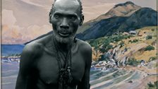 contemporary african art - Kalamata, chief of the Luba against watercolor by Dardenne