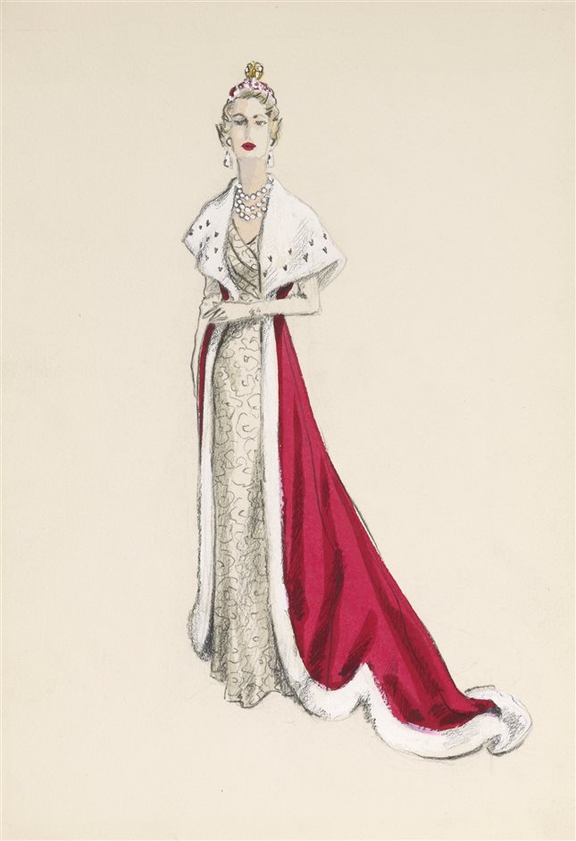 The Queen's Coronation 1953 - A sketch of a robe designed for a peeress, 1953, Norman Hartnell. Royal Collection Trust/(C) Private Collection