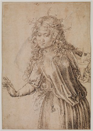 The Young Durer: Drawing The Figure - Albrecht D�rer (1471-1528),,A Wise Virgin (recto), 1493 ,,Pen and ink, 291 x 202 mm,,The Courtauld Gallery, London