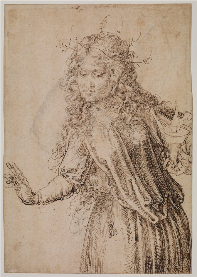 The Young Durer: Drawing The Figure - Albrecht Dürer (1471-1528),,A Wise Virgin (recto), 1493 ,,Pen and ink, 291 x 202 mm,,The Courtauld Gallery, London