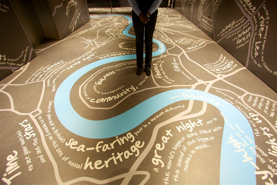 The View from The Shard - A graffiti word map of London at Level 33 of The Shard © The View from The Shard