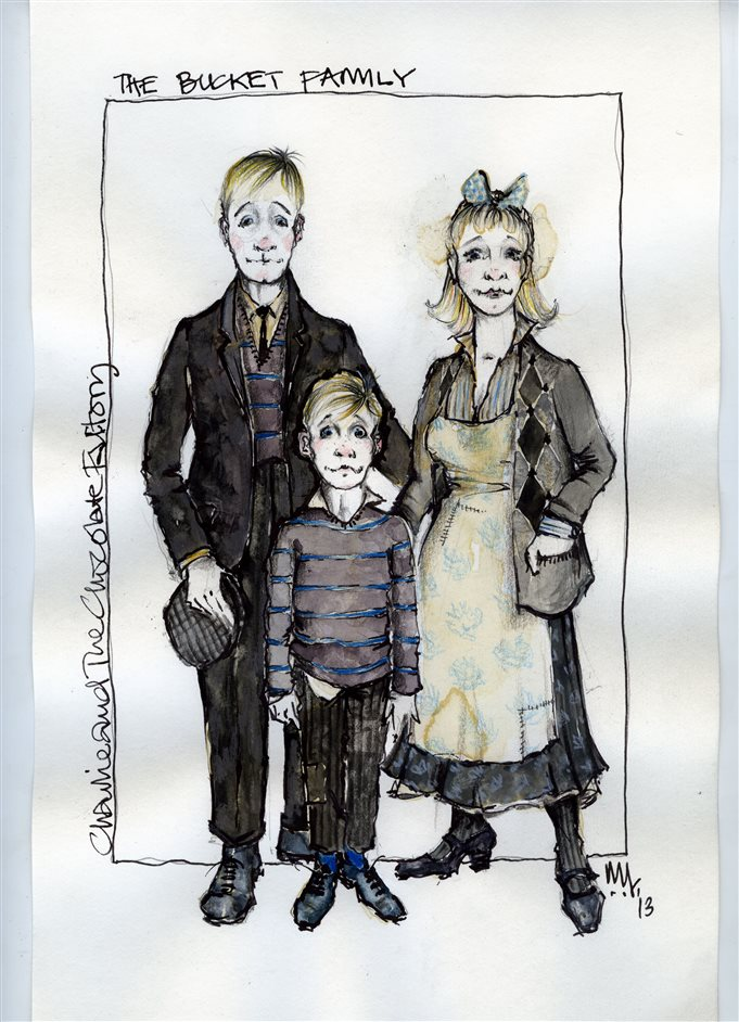 Charlie and the Chocolate Factory - Mark Thompson's Charlie and the Chocolate Factory design sketch for Charlie Bucket and his parents