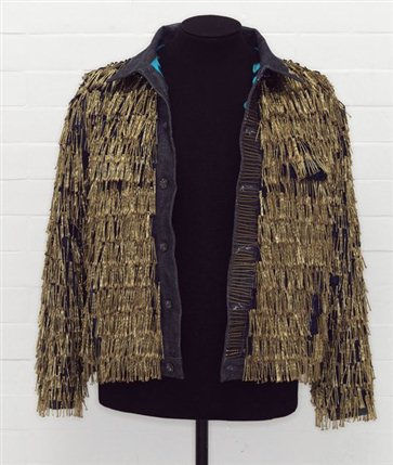 From Club to Catwalk: London Fashion in the 80s - Denim jacket, 'BLITZ', by Levi Strauss & Co. customised by Leigh Bowery1986 (c) V&A Images