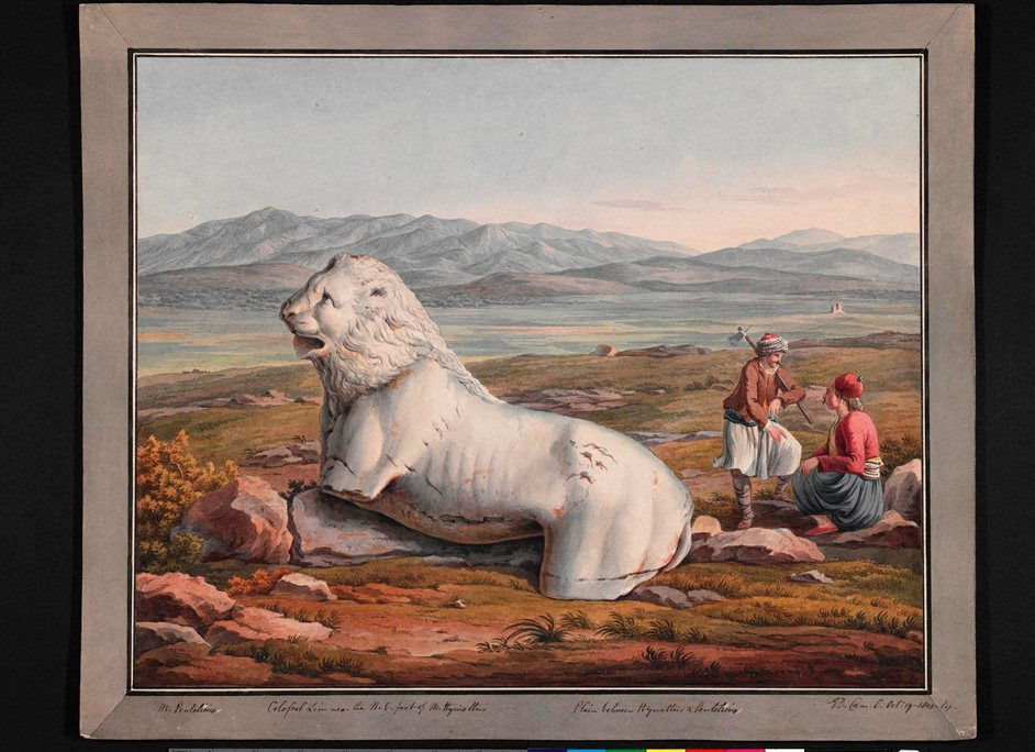 In Search of Classical Greece: Travel Drawings of Edward Dodwell and Simone Pomardi - Colossal Lion near Hymettus, Edward Dodwell (c. 1777-1832), 1805, Watercolour over graphite, with bodycolour. Packard Humanities Institute.