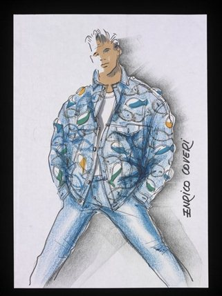 From Club to Catwalk: London Fashion in the 80s - Sketch for Levi Strauss & Co. denim jacket, 'BLITZ', by Enrico Coveri