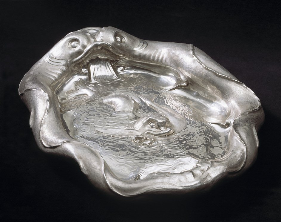 Treasures of the Royal Courts: Tudors, Stuarts and the Russian Tsars - The Dolphin Basin,,Christian van Vianen,,England (London), 1635,,© Victoria and Albert Museum, London