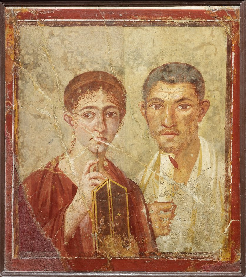 Life and death in Pompeii and Herculaneum - Wall painting of the baker Terentius Neo and his wife. From the House of Terentius Neo, Pompeii. AD 50 to 79. Copyright Soprintendenza Speciale per i Beni Archeologici di Napoli e Pompei / Trustees of the British Museum