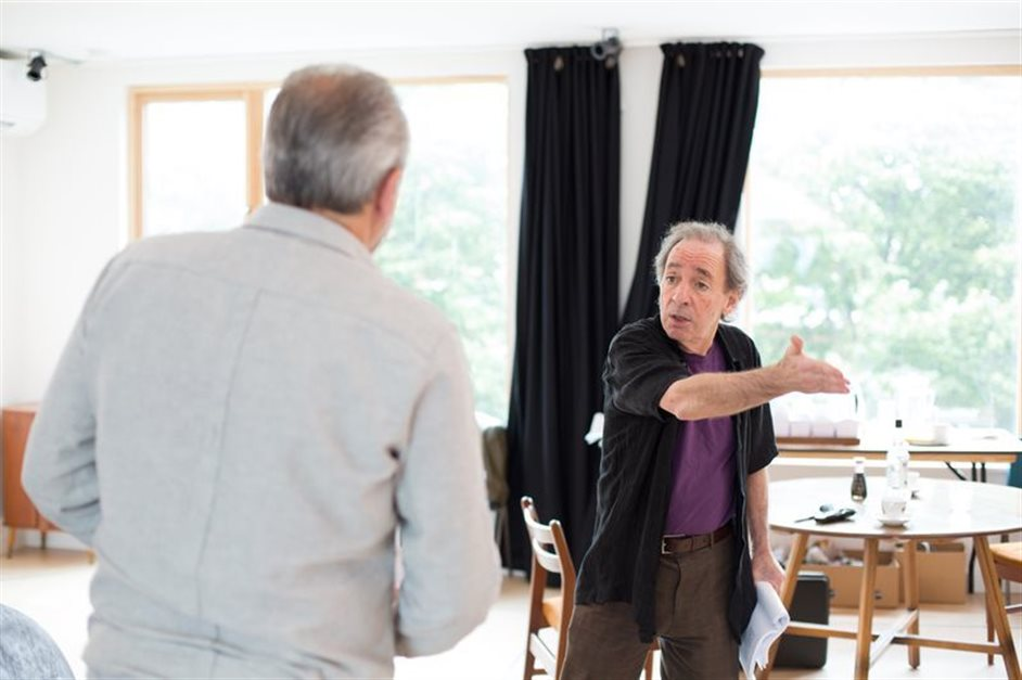 Daytona - Harry Shearer, Maureen Lipman and John Bowe in rehearsal for Daytona, Park Theatre