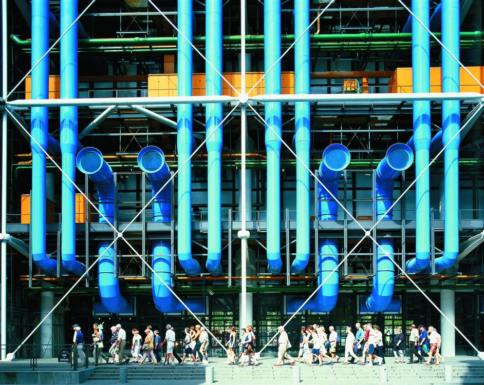 Richard Rogers RA: Inside Out - Centre Pompidou Colour-Coded External Services © Rogers Stirk Harbour + Partners