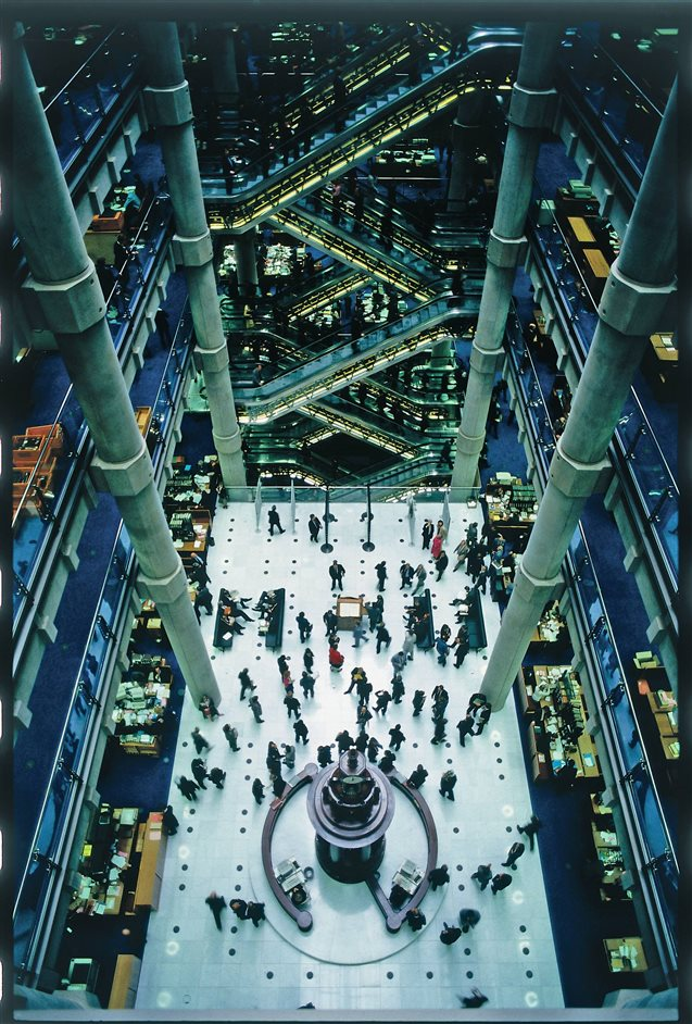 Richard Rogers RA: Inside Out - Lloyds of London, atrium © Janet Gill