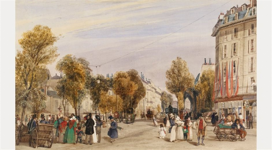 The Discovery of Paris: Watercolours by Early Nineteenth-Century British Artists - T.S. Boys, The Boulevard des Capucines, 1833 - © The Trustees of the British Museum
