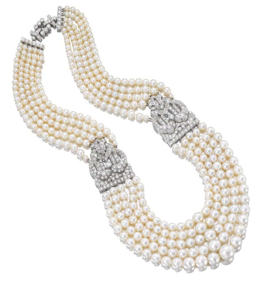 Pearls - 1930s Cartier Necklace, pearls with platinum and diamond clasps. The QMA Collection. Photo Sothebys