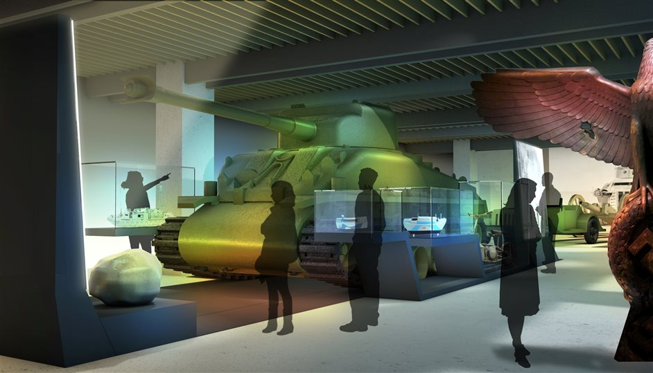 IWM London (Imperial War Museums) - Large Object Displays in new atrium, summer 2014, photo by Casson Mann
