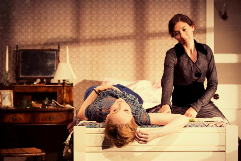 A Doll's House - Hattie Morahan (Nora) and Susannah Wise (Kristine) photo by Johan Persson