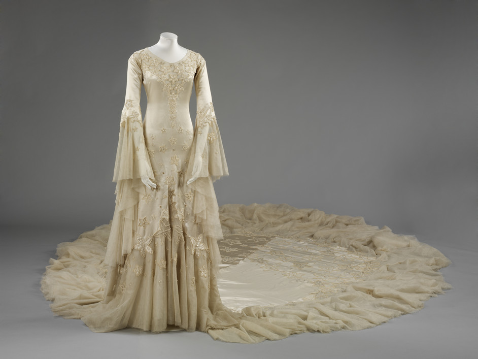 Wedding Dresses 1775-2014 - Silk satin wedding dress designed by Norman Hartnell 1933 given and worn by Margaret, Duchess of Argyll (c) Victoria and Albert Museum, London