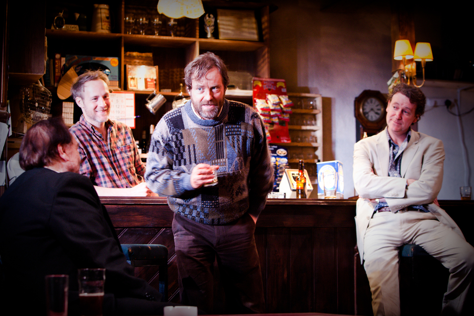 The Weir - From Left, Brian Cox, Peter McDonald, Ardal O'Hanlon & Risteard Cooper in The Weir at Donmar, 2013. Photo by Helen Warner