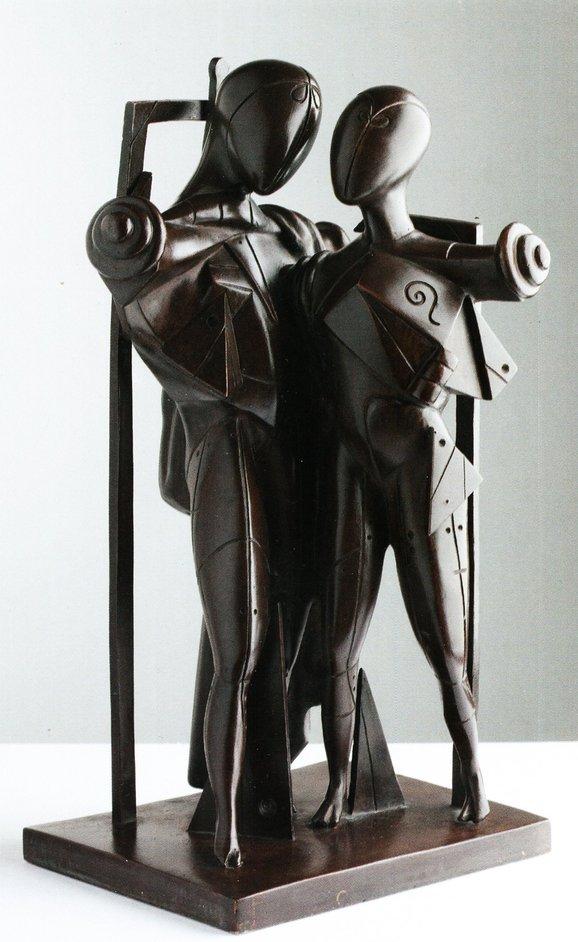Giorgio de Chirico: Myth and Mystery - Giorgio de Chirico (1888-1978), Hector and Andromache, 1968, Patinated bronze, 48 x 19 x 27 cm: © Galleria d'Arte Maggiore, Bologna (Italy).