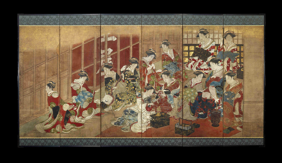 Women Of The Pleasure Quarters: A Japanese Painted Screen - Utagawa Toyoharu (attributed to), Courtesans of the Tamaya House © The Trustees of the British Museum