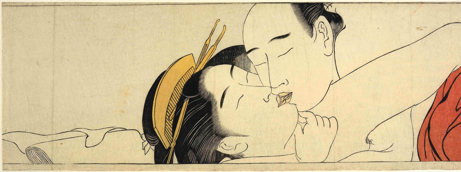 Shunga: Sex and Pleasure in Japanese Art - Torii Kiyonaga, detail taken from Sode no maki (Handscroll for the Sleeve), c.1785 � The Trustees of the British Museum