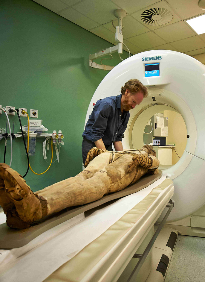 Ancient Lives: New Discoveries - Mummy undergoing CT scan at Royal Brompton Hospital (c)Trustees of the British Museum