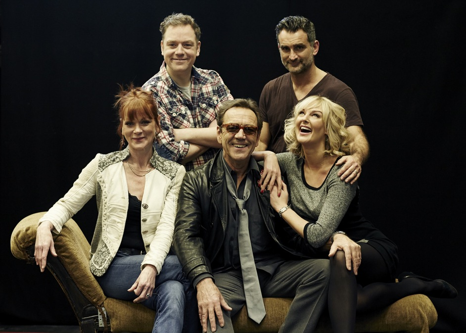 Dirty Rotten Scoundrels - L-R Samantha Bond, Rufus Hound, Robert Lindsay, John Marquez & Katherine Kingsley. Photo Helen Maybanks