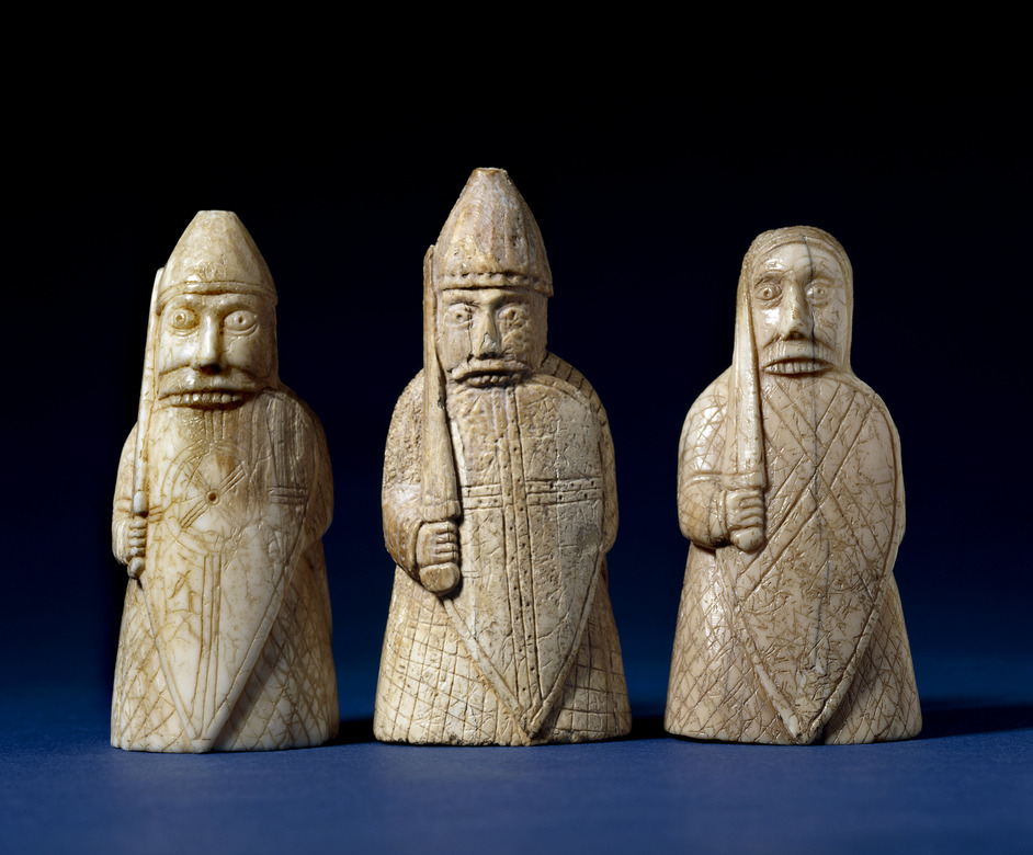 Vikings: Life And Legend - The Lewis Chessmen, berserkers. Late 12th century, Uig, Lewis, Scotland. Walrus ivory. Copyright of The Trustees of the British Museum.
