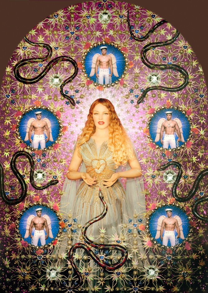 The Fashion World of Jean Paul Gaultier: From the Sidewalk to the Catwalk - The Virgin with the Serpents (Kylie Minogue) 2008 by Pierre et Gilles. Painted photograph, framed by the artists  Gallerie J�rome de Noimont, Paris © Pierre et Gilles. Courtesy Gallery J�rome de Noimont, Paris