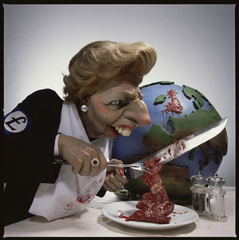 Spitting Image - Thatcher Cutting Up Britain. © Spitting Image