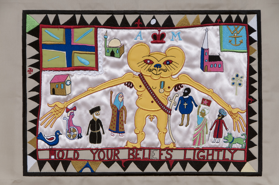 20/21 British Art Fair - Grayson Perry (b. 1960), 'Hold your Beliefs Lightly', tapestry embroidery, 2011
