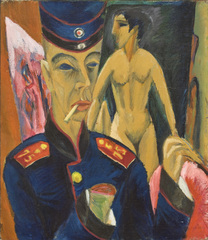 The Great War in Portraits - Selbstbildnis als Soldat by Ernst Ludwig Kirchner, 1915