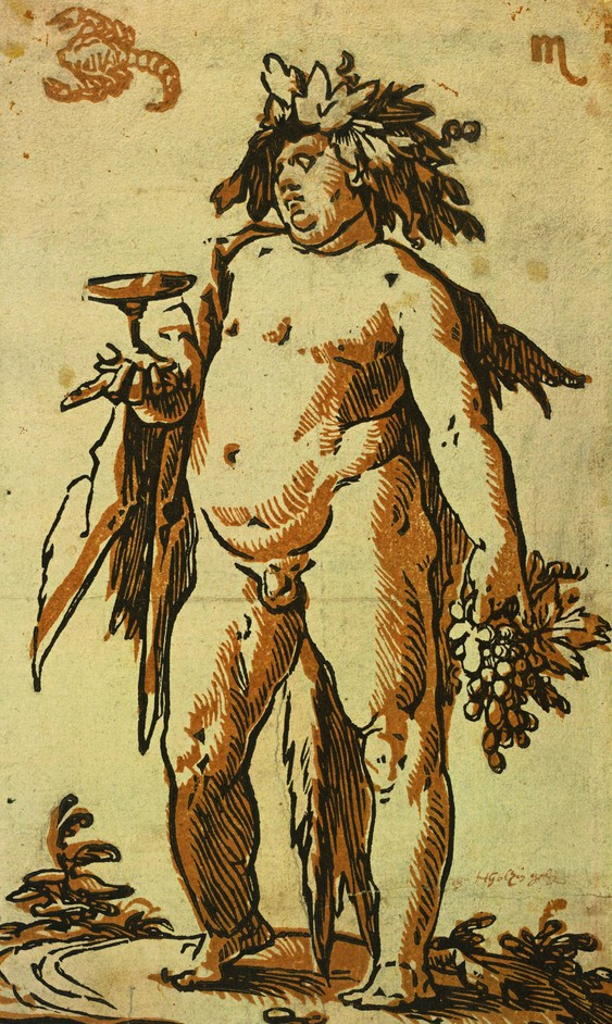 Renaissance Impressions: Chiaroscuro woodcuts from the Collections of Georg Baselitz and the Alberti - Hendrick Goltzius Bacchus, c. 1589-90 Chiaroscuro woodcut printed from two blocks. Collection Georg Baselitz Photo Albertina, Vienna
