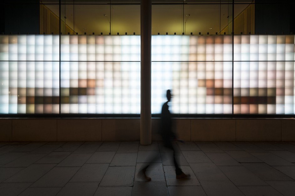 Wellcome Collection - 'Eye Contact' window installation by Peter Hudson. Image: Wellcome Library