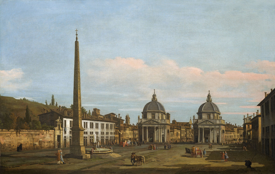 London Art Week - Bernardo Bellotto (1722-1780)The Piazza del Popolo Rome 1743 Charles Beddington Ltd