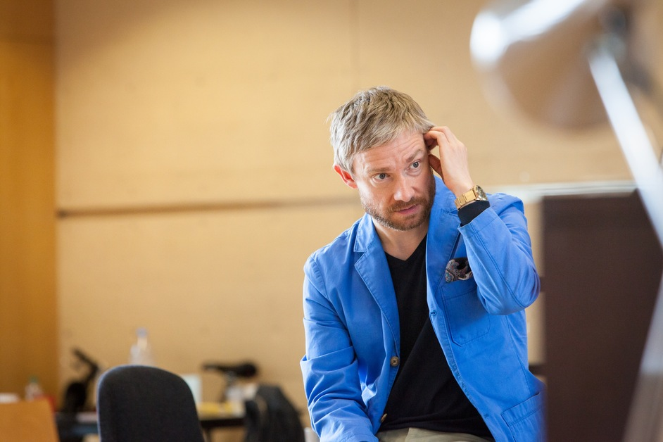 Richard III - Rehearsal Image - Martin Freeman and cast. Photo Marc Brenner