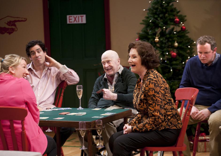 Table - Maggie Service (Carrie), Stephen Mangan (Adam), John Rogan (Francis), Deborah Findlay (Edith) and Miles Jupp (Matthew). Photographer: Simon Annand