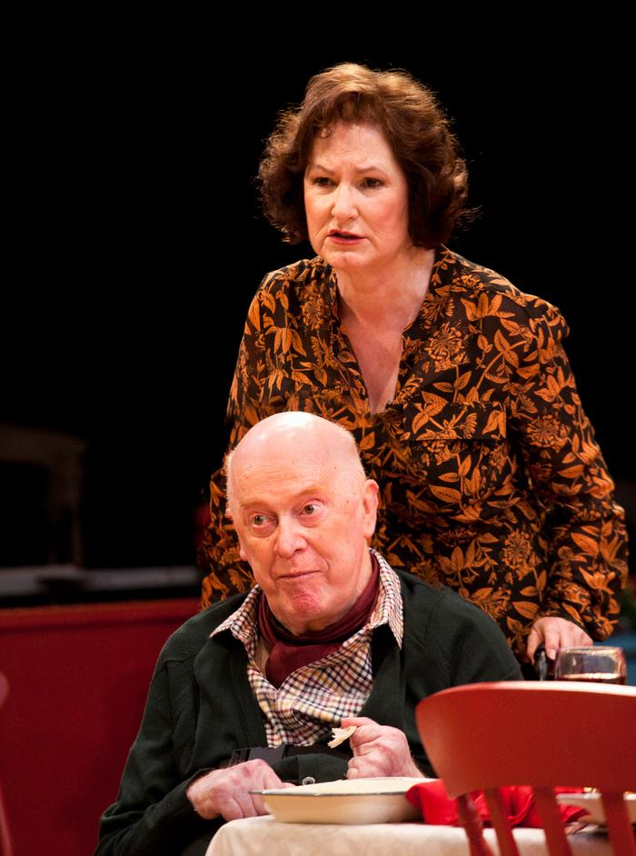 Table - John Rogan (Francis) and Deborah Findlay (Edith). Photographer: Simon Annand